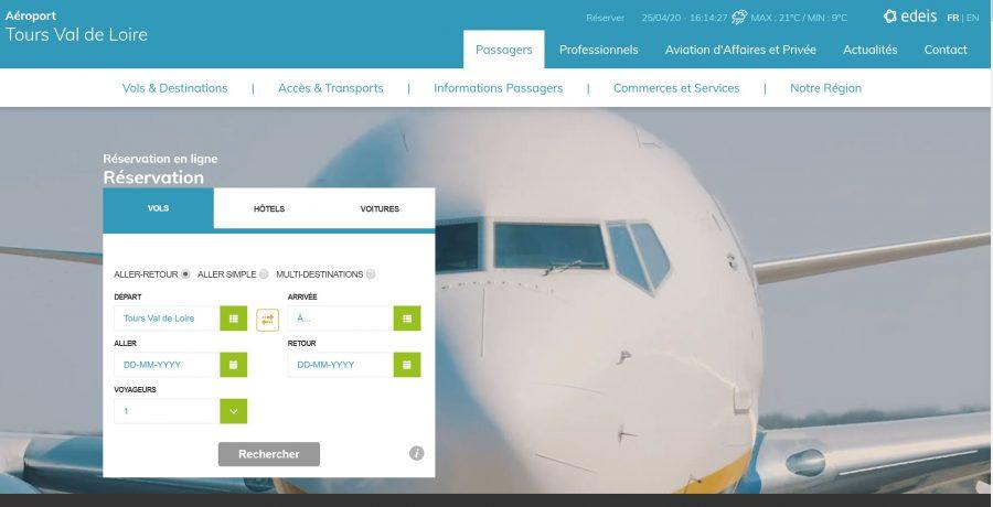 Page d'accueil du nouveau site de l'aéroport de Tours