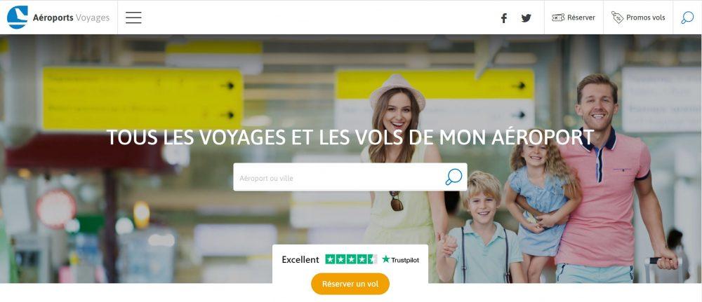 New Aéroports Voyages website