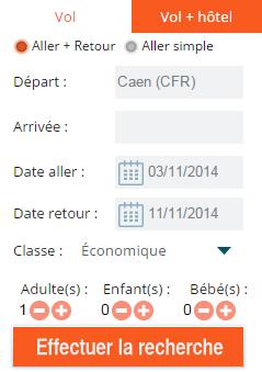Moteur de réservation Vols & Hôtels - Aéroport de Caen