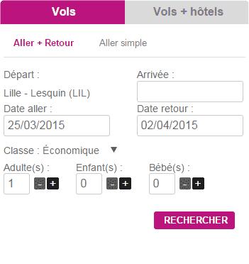 Moteur de réservation Vols & Hôtels - Aéroport de Lille