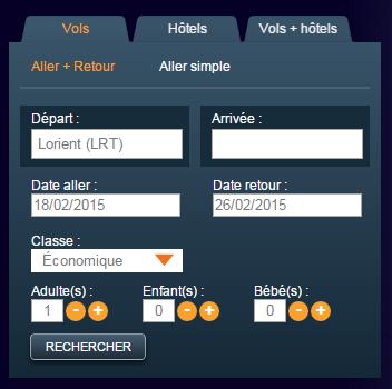 Moteur de réservation Vols & Hôtels - Aéroport de Lorient