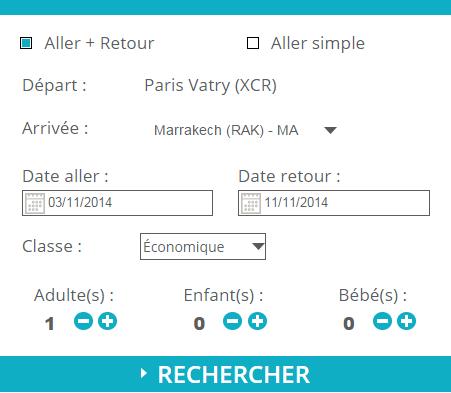 Moteur de réservation de vols - Aéroport Paris-Vatry