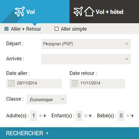 Moteur de réservation Vols & Hôtels - Aéroport de Perpignan